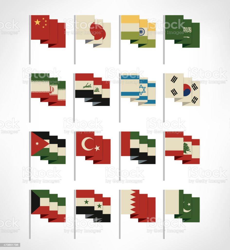 Most popular Asia flags set. Flat design.Cartoon style. Vintage colors vector art illustration
