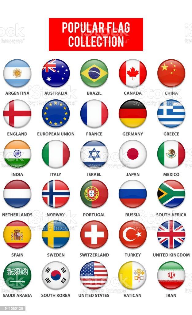 Most Popular Button Flag Collection - ilustração de arte vetorial