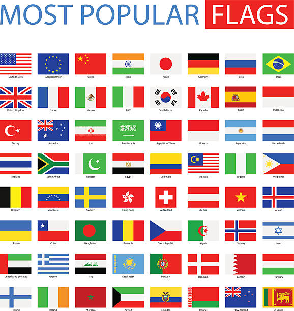 Most Popular Flags - Vector Collection Vector Set of Flat National Flags national flag illustrations stock illustrations