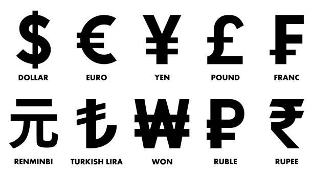 stockillustraties, clipart, cartoons en iconen met meest gebruikte valutasymbolen. - franken