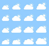 Mostly cloudy icon on blue background