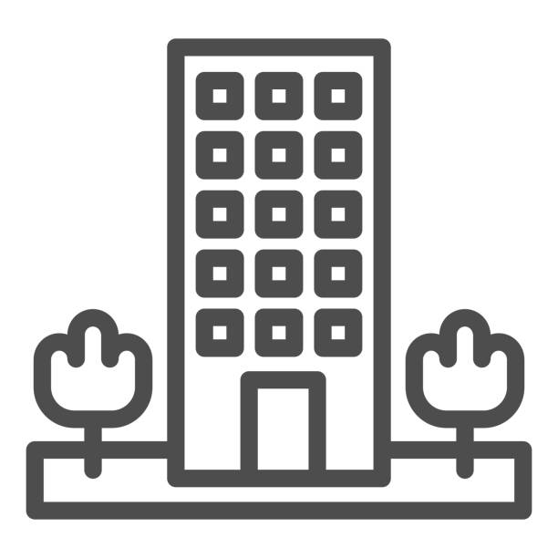 Motel line icon. Skyscrape building with trees symbol, outline style pictogram on white background. Hotel business sign for mobile concept and web design. Vector graphics. Motel line icon. Skyscrape building with trees symbol, outline style pictogram on white background. Hotel business sign for mobile concept and web design. Vector graphics architecture clipart stock illustrations