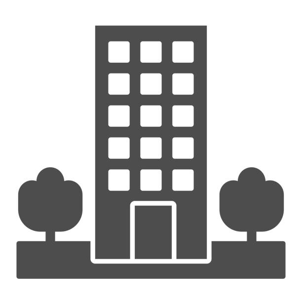 Motel solid icon. Skyscrape building with trees symbol, glyph style pictogram on white background. Hotel business sign for mobile concept and web design. Vector graphics. Motel solid icon. Skyscrape building with trees symbol, glyph style pictogram on white background. Hotel business sign for mobile concept and web design. Vector graphics architecture clipart stock illustrations