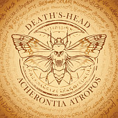 Illustration of a butterfly Dead head with skull-shaped pattern on the thorax on an old abstract background with inscriptions written in a circle. Vector banner in retro style. Acherontia Atropos