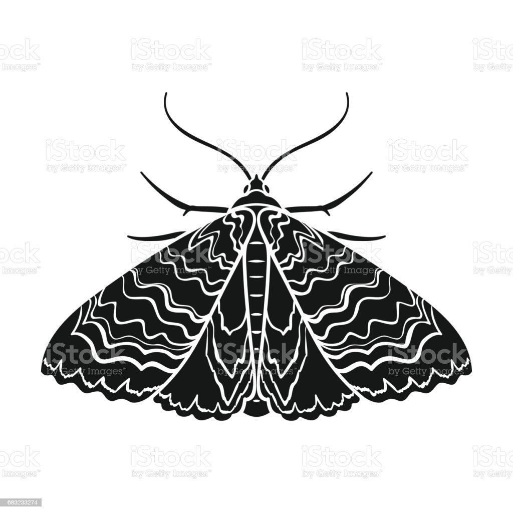 蛾在孤立的白色背景上的黑色風格的圖示。昆蟲的符號股票向量圖。 免版稅 蛾在孤立的白色背景上的黑色風格的圖示昆蟲的符號股票向量圖 向量插圖及更多 動物 圖片