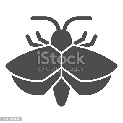 Moth solid icon, Insects concept, mole sign on white background, Moth silhouette icon in glyph style for mobile concept and web design. Vector graphics
