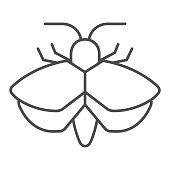 Moth thin line icon, Insects concept, mole sign on white background, Moth silhouette icon in outline style for mobile concept and web design. Vector graphics
