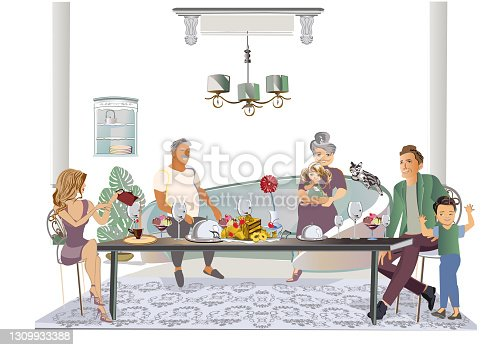 Mother, a father, thier  children and a grandfather, a grandmother spending time having their holiday family dinner.