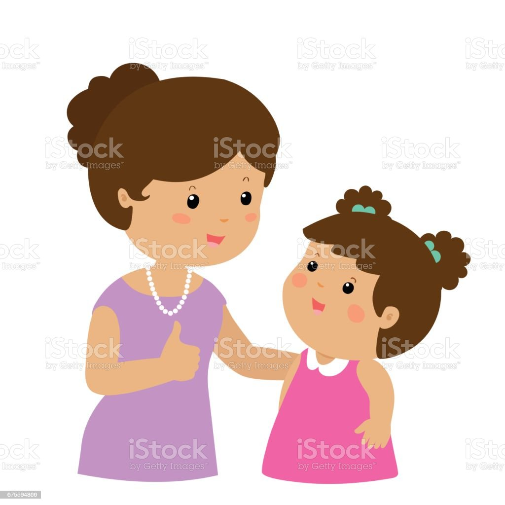 royalty free mom cheering kids clip art vector images rh istockphoto com black mom and daughter clipart mom and daughter holding hands clipart