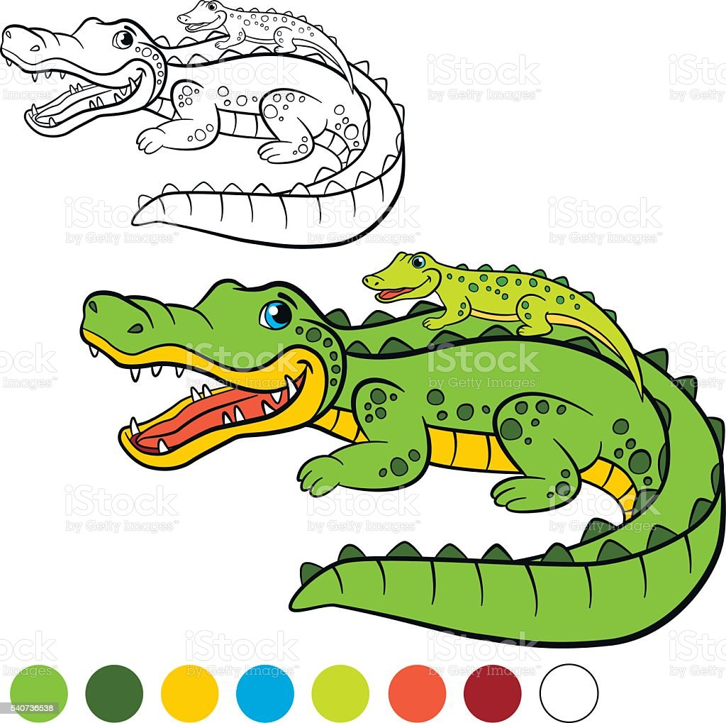 Mother Alligator With Her Little Cute Baby Alligator Stock Vector