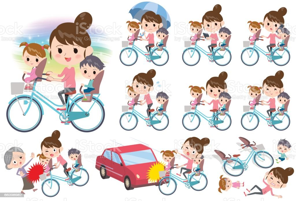 Mother and 2 Children ride on city bicycle royalty-free mother and 2 children ride on city bicycle stock vector art & more images of bicycle