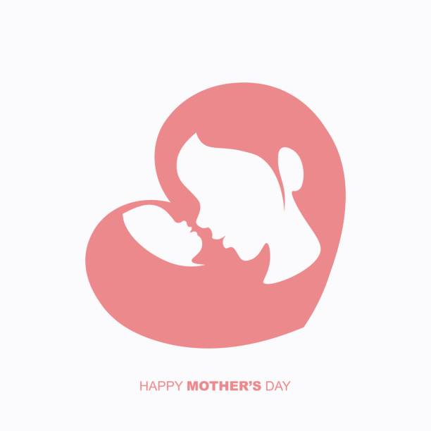 Mother and a baby in heart shaped silhouette vector art illustration