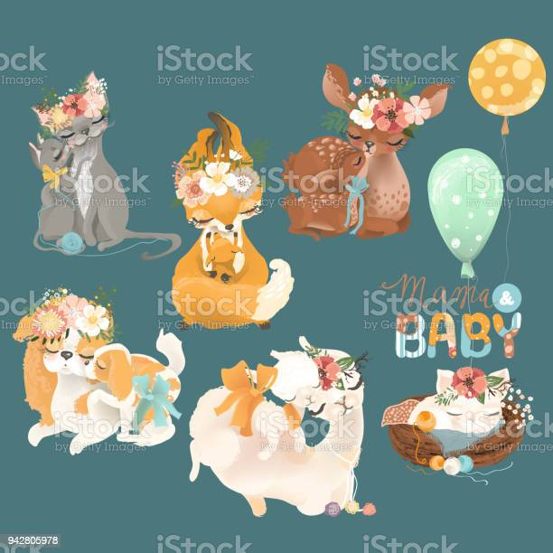 Mother and baby animals set cat fox deer dog llama with baby animals vector id942805978?b=1&k=6&m=942805978&s=612x612&h= qrnmopbi00uzsdqa1ul3nq0 wdulxmzwhndychhh8o=
