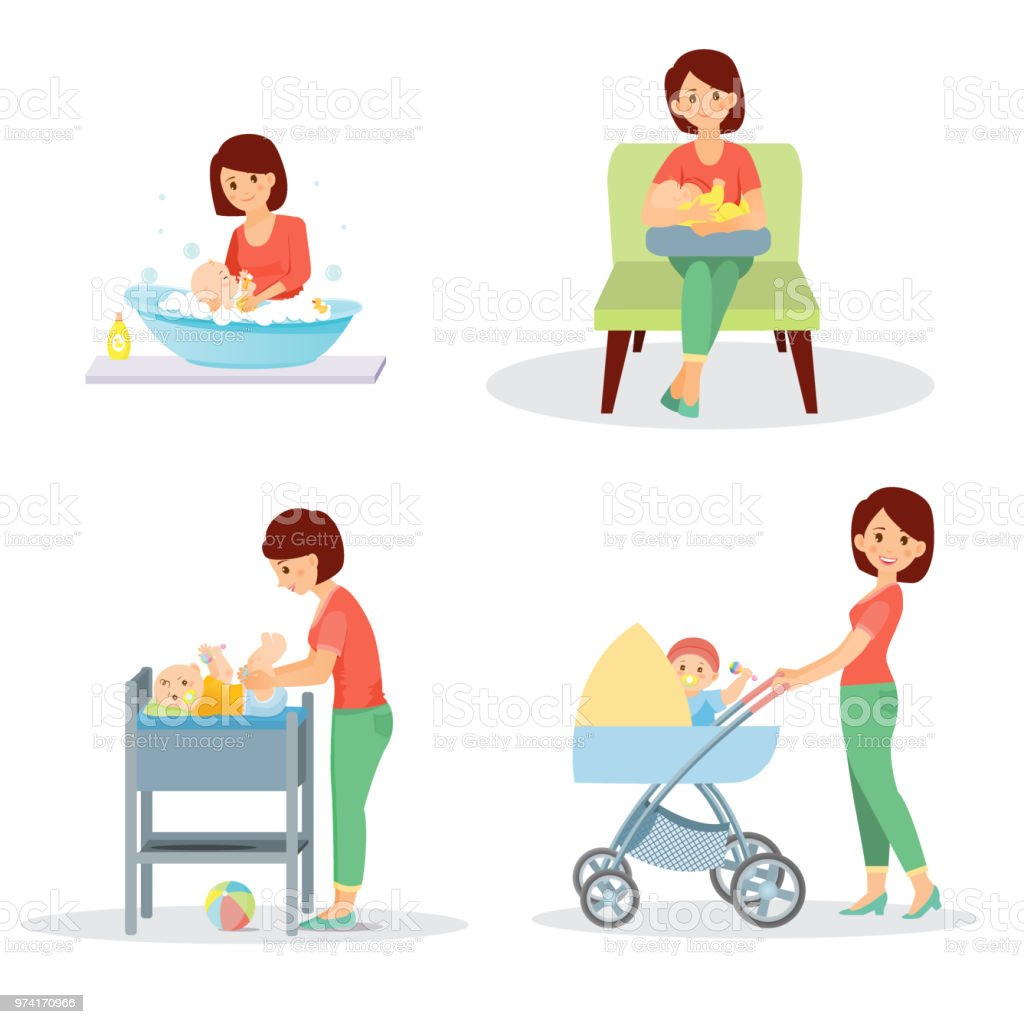 Mother and baby big set vector art illustration