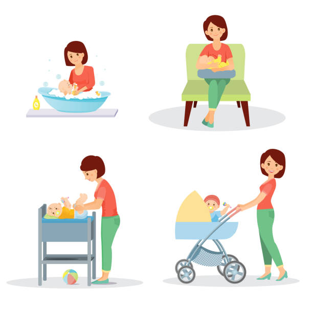 mother and baby big set - babysitter stock illustrations, clip art, cartoons, & icons