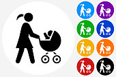 Mother and Baby Carriage Icon on Flat Color Circle Buttons. This 100% royalty free vector illustration features the main icon pictured in black inside a white circle. The alternative color options in blue, green, yellow, red, purple, indigo, orange and black are on the right of the icon and are arranged in two vertical columns.