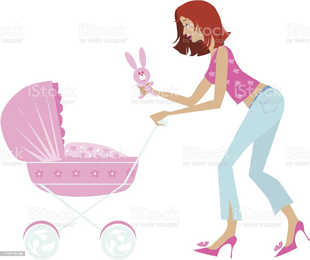 Mother and baby carriage royalty-free stock vector art