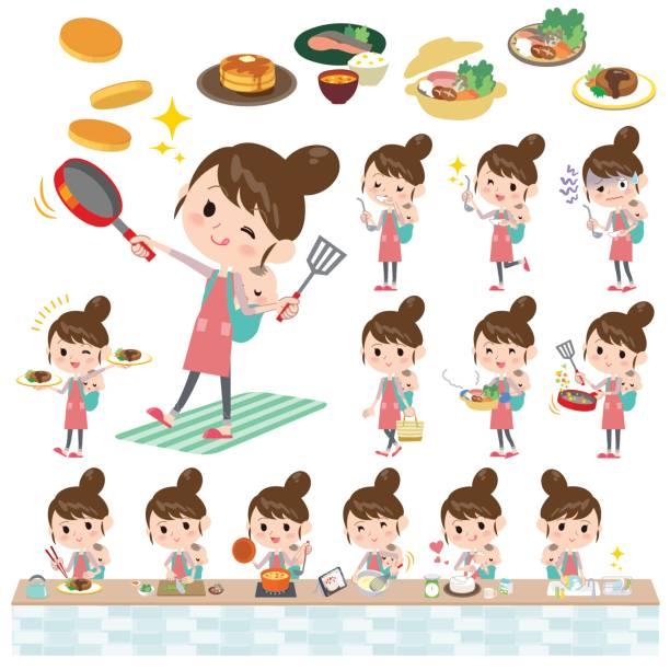 ilustrações de stock, clip art, desenhos animados e ícones de mother and baby cooking - fail cooking