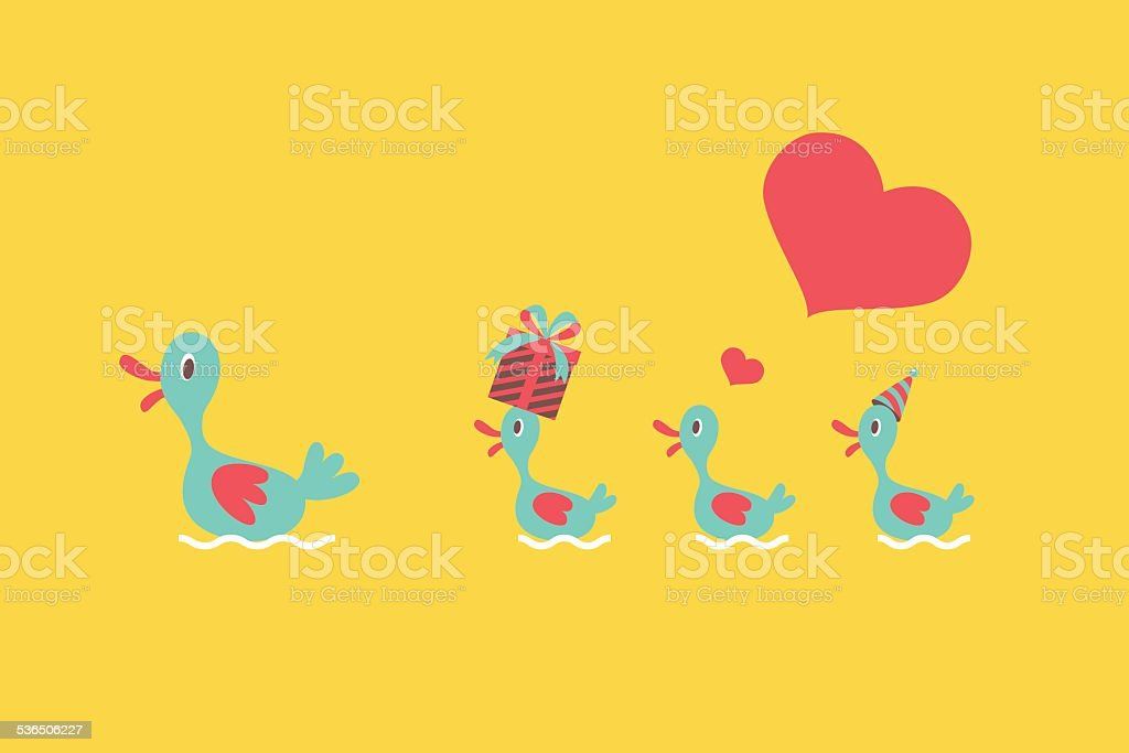 Mother and baby duck vector art illustration