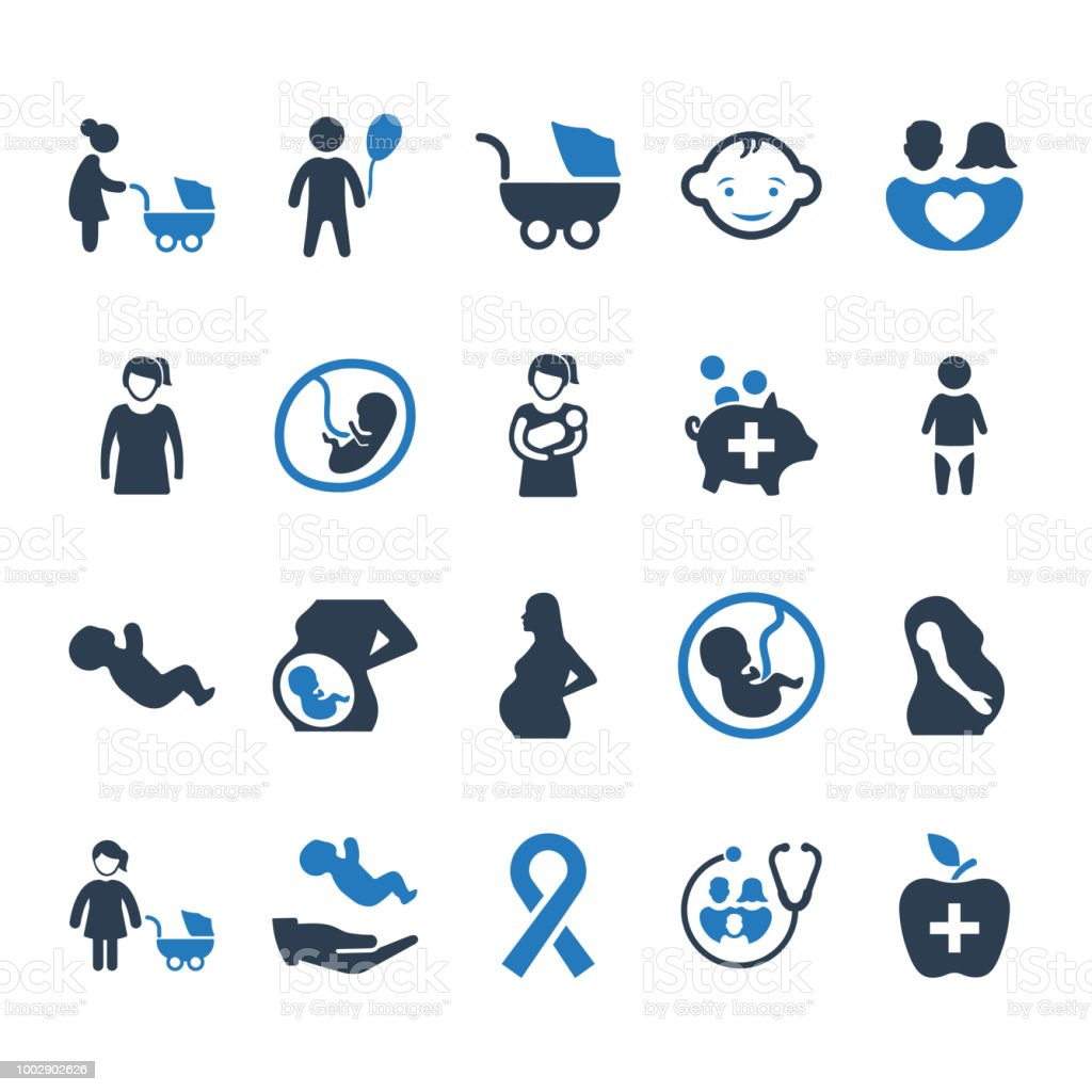 Mother and Baby Healthcare Icons - Blue Version vector art illustration