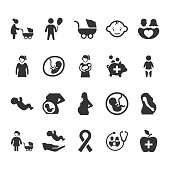 Mother and Baby Healthcare Icons - Gray Version