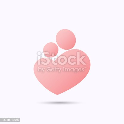 istock Mother and baby heart symbol 901813630