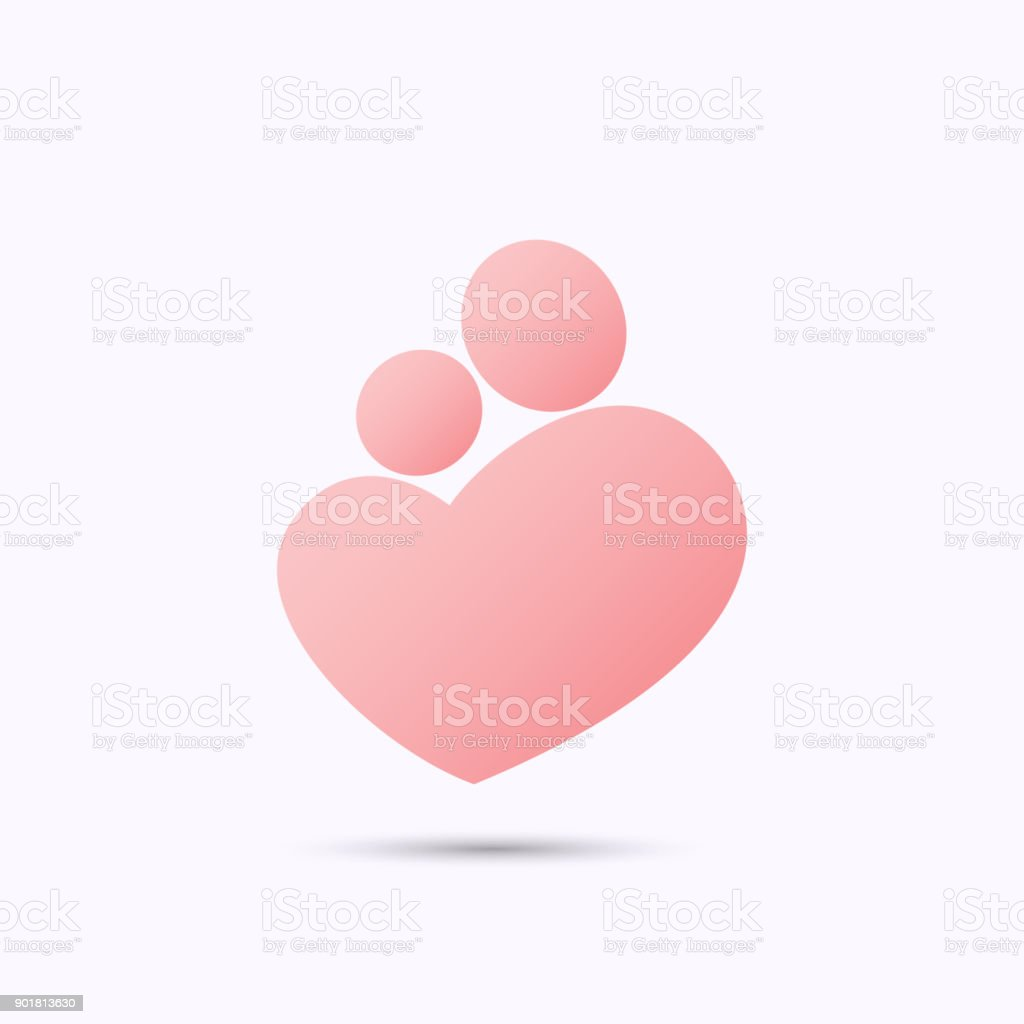 Mother and baby heart symbol vector art illustration