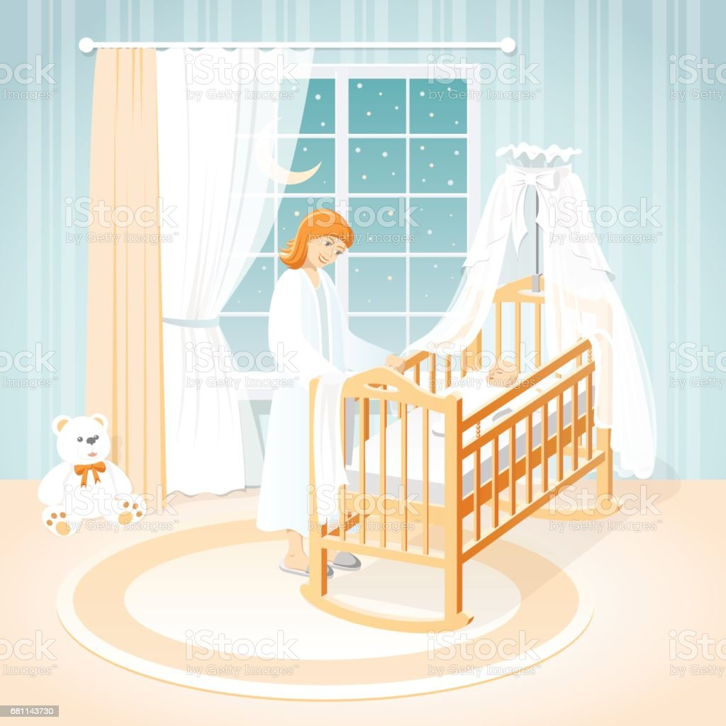 Mother and baby in the cot. A children's room. Night. vector art illustration