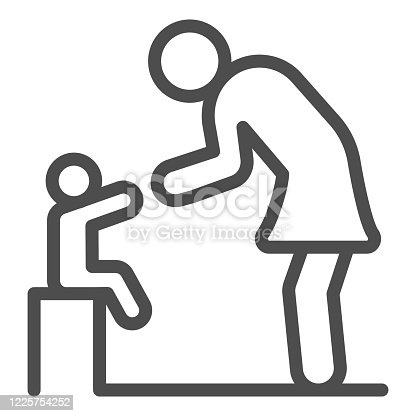 istock Mother and baby line icon, 1st June children protection day concept, Mom cares about her kid sign on white background, Son sits and standing parent icon in outline style. Vector graphics. 1225754252
