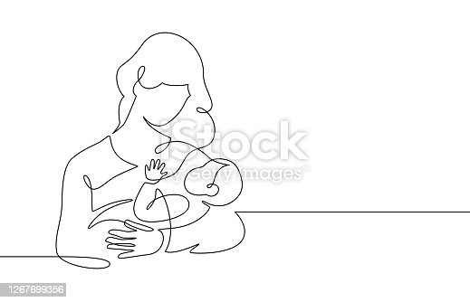 istock Mother and baby line. Mom hugs child. Motherhood and newborn concept. Happy woman holds toddler continuous one line vector illustration 1267699356