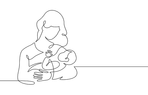 Mother and baby line. Mom hugs child. Motherhood and newborn concept. Happy woman holds toddler continuous one line vector illustration