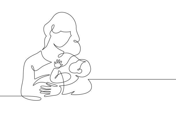 母と赤ちゃんのライン。ママは子供を抱きしめる。母性と新生児の概念。幸せな女性は幼児の連続した1行ベクトルのイラストを保持しています - 赤ちゃん点のイラスト素材/クリップアート素材/マンガ素材/アイコン素材