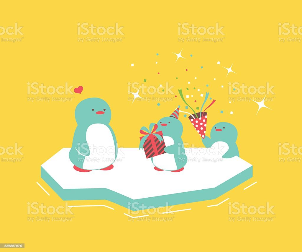 Mother and baby penguins vector art illustration