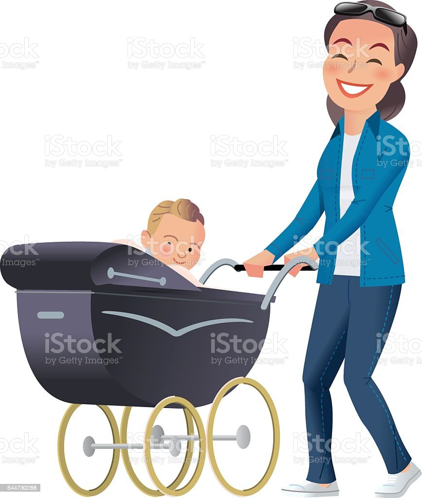 Mother and Baby pram vector art illustration