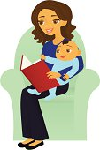 A vector illustration of a mother and baby reading a book together. Mother and baby are grouped together on a separate layer from the chair. Linear and radial gradients used. No meshes.