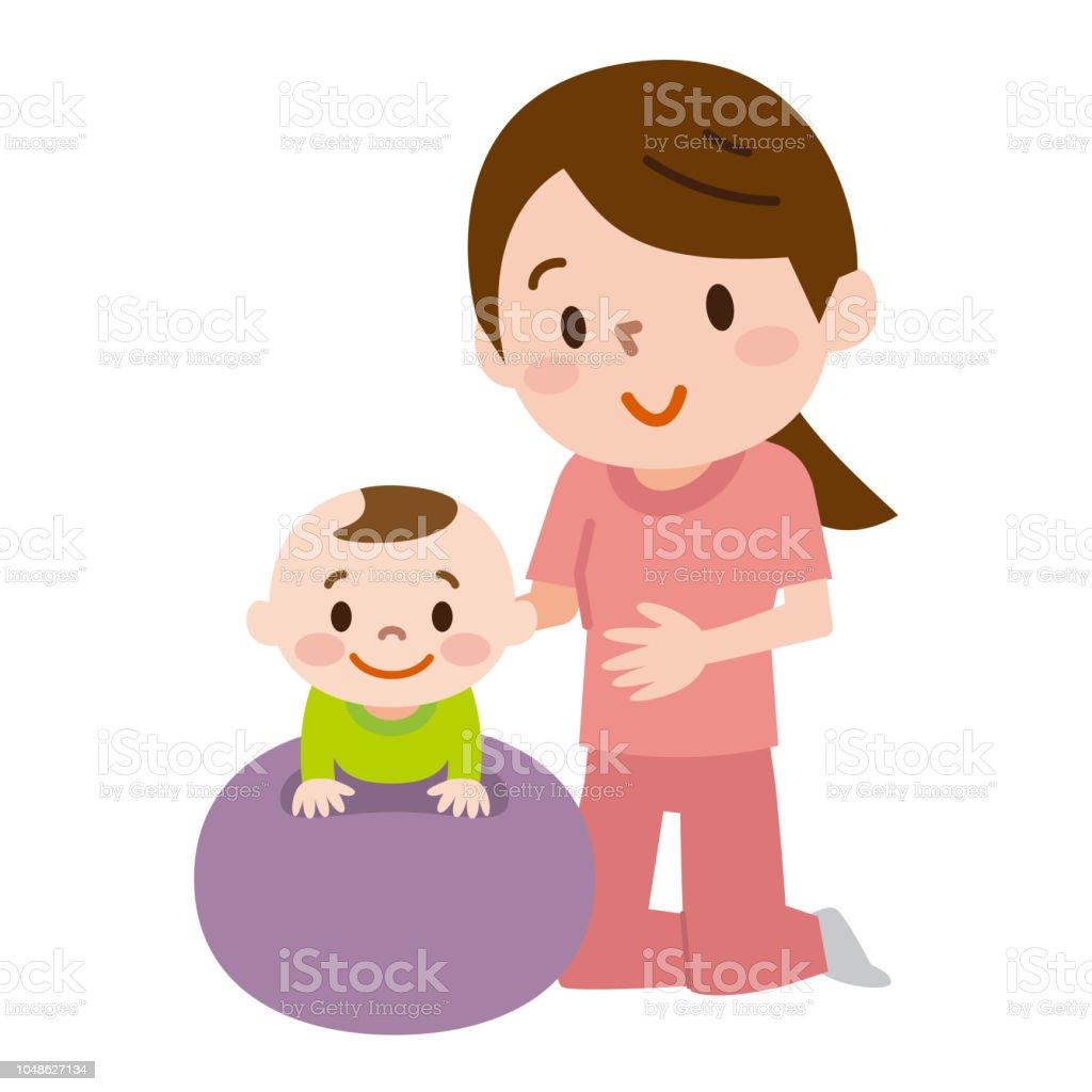母親と赤ちゃん乗ってバランス ボール イラストレーションのベクター