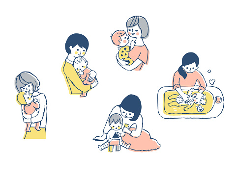 Mother and baby scene set