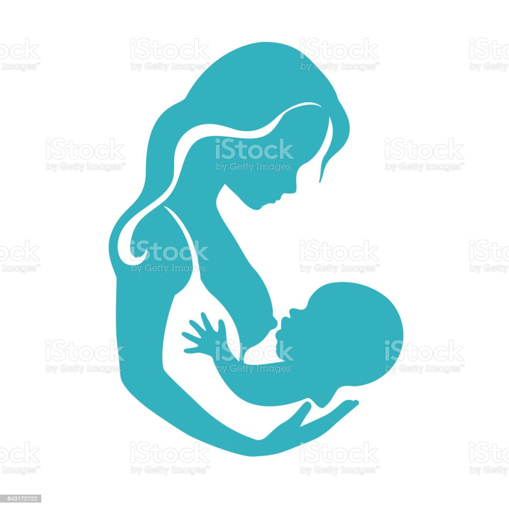 Mother and baby silhouette during breastfeeding process vector vector art illustration