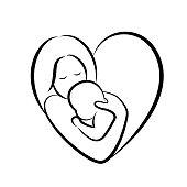 Mom hugs her child icon design. Happy mother's day concept, illustration isolated on white background.
