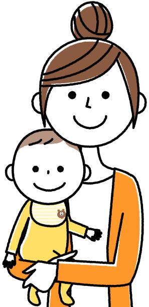 母親と赤ちゃん - 親子点のイラスト素材/クリップアート素材/マンガ素材/アイコン素材
