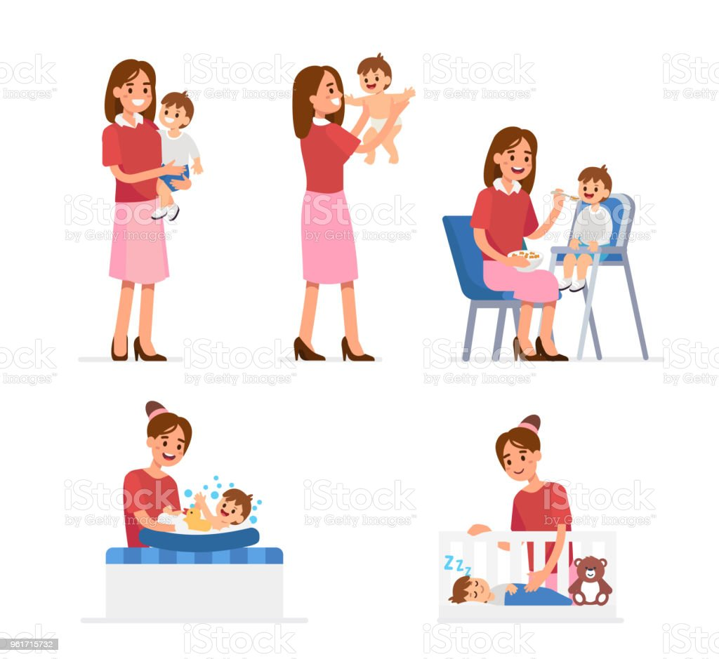mother and baby vector art illustration