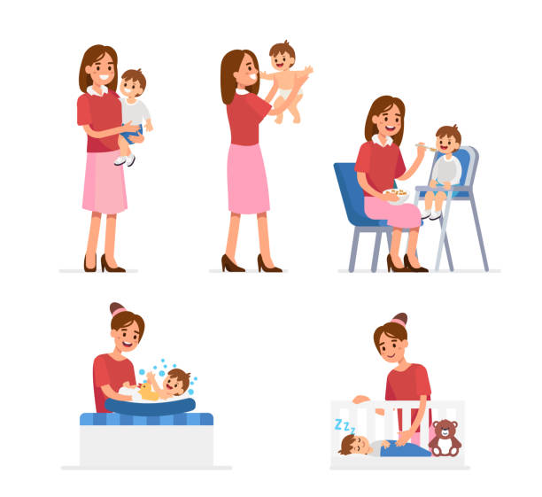 mother and baby - single mother stock illustrations