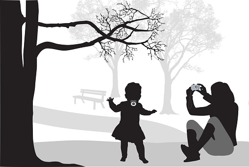 Mother And Baby Walking Vector Silhouette