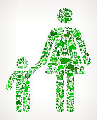 Mother and Boy Family Icon . The green vector icons create a seamless pattern and include popular farming and agriculture. Farm house, farm animals, fruits and vegetables are among the icons used in this file. The icons are carefully arranged on a light background and vary in size and shades of green color.
