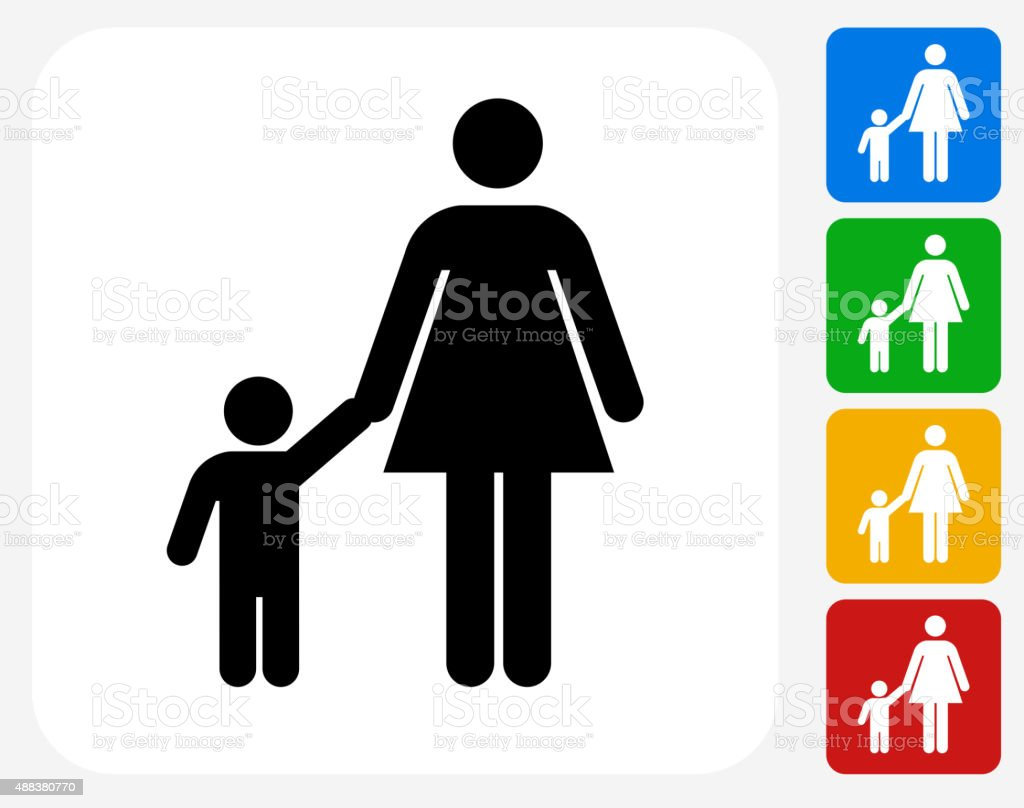 Mother and Boy Family Icon Flat Graphic Design vector art illustration