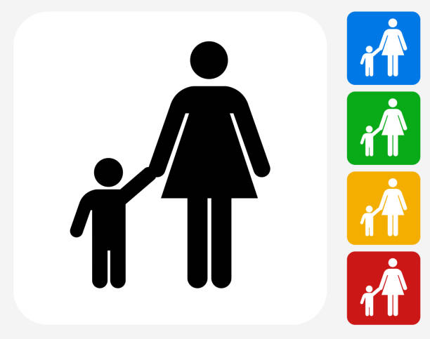 mother and boy family icon flat graphic design - babysitter stock illustrations, clip art, cartoons, & icons