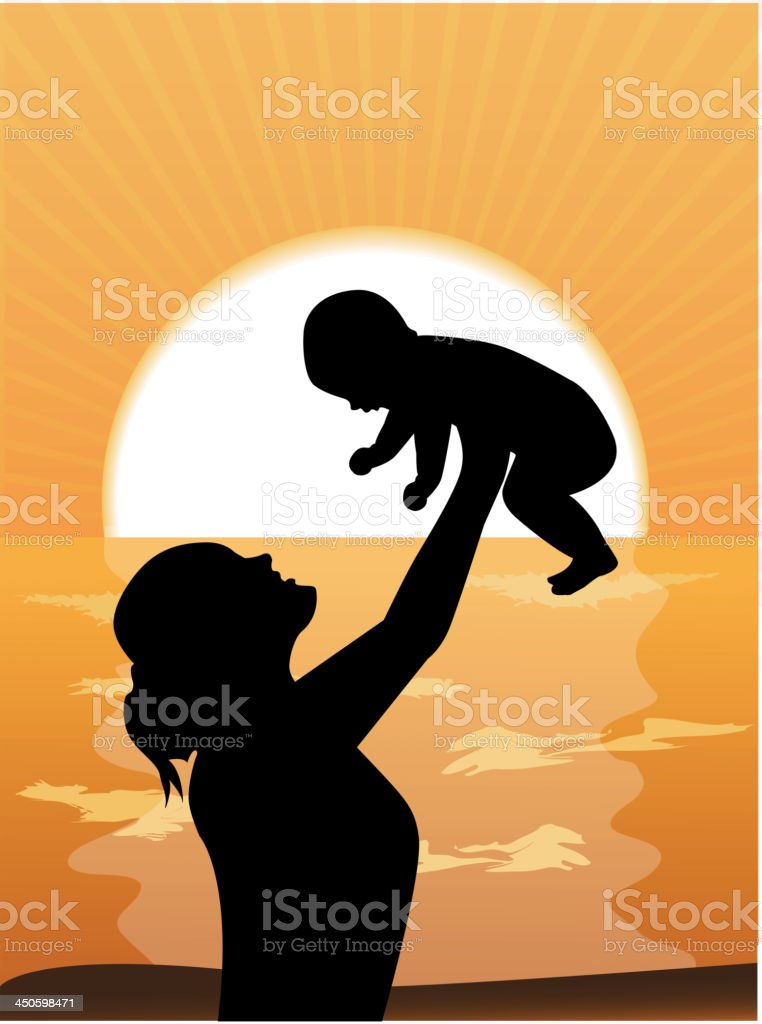 mother and child at sunset royalty-free mother and child at sunset stock vector art & more images of 0-11 months