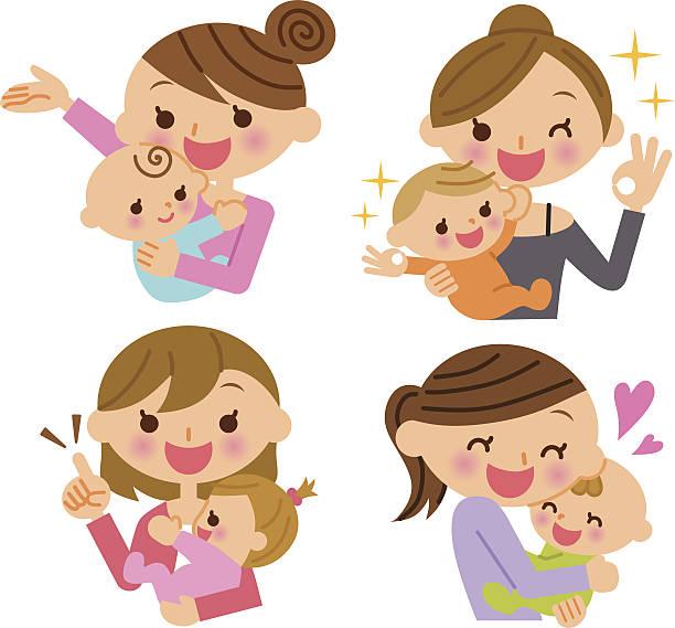 母と子イラストレーション - 母親点のイラスト素材/クリップアート素材/マンガ素材/アイコン素材