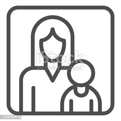 istock Mother and child in a frame line icon, motherhood concept, Mom and her baby sign on white background, Kid and parent icon in outline style for mobile and web design. Vector graphics. 1225754516