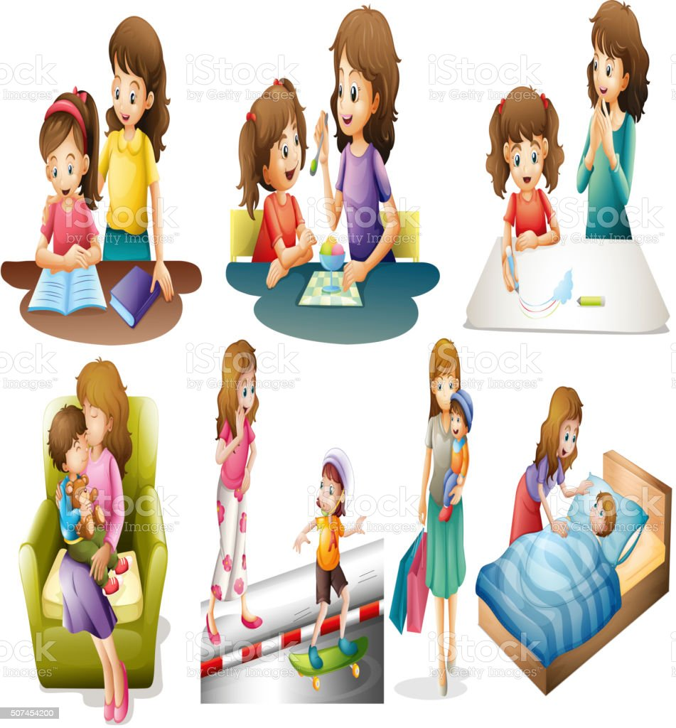 Mother and child in different actions vector art illustration